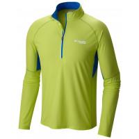 Camiseta ML Columbia Titan Ultra Half Zip Masculina Verde Limão